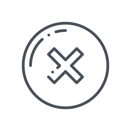confirmed: Cross, un confirmed icon suitable for info graphics, websites and print media and  interfaces. Hand drawn style, line, vector icon. Illustration