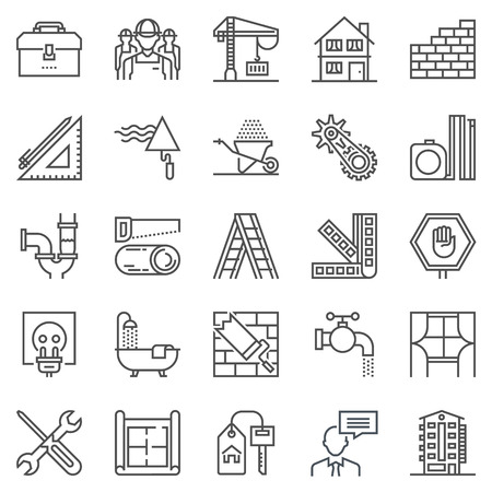 Construction theme icon set suitable for info graphics, websites and print media. Black and white flat line icons. Stock Illustratie