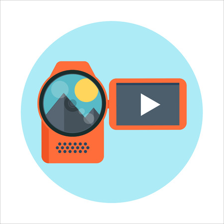print media: Video camera theme, flat style, colorful, vector icon for info graphics, websites, mobile and print media. Illustration