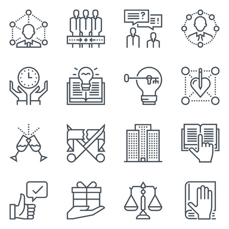 law books: Business and employment icon set suitable for info graphics, websites and print media. Black and white, vector, responsive, isolated, flat line icons and signs.