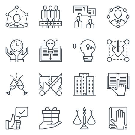 conflicto: Negocios y el empleo conjunto de iconos adecuados para información de gráficos, páginas web y medios impresos. vector blanco y negro,,, aislado, iconos de líneas planas sensibles y signos.