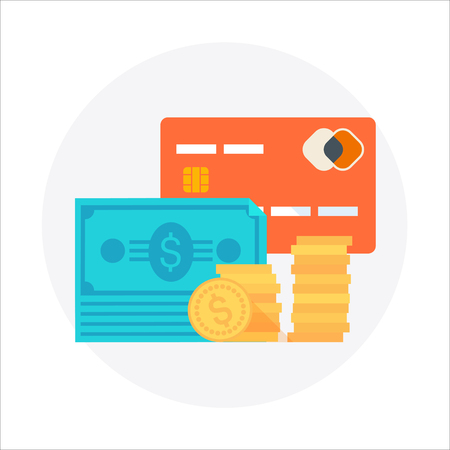 que: Payment type theme, flat style, colorful, vector icon for info graphics, websites, mobile and print media. Illustration