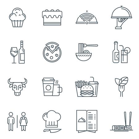 Restaurant icon set geschikt voor info graphics, websites en gedrukte media. Zwart-wit vlakke lijn pictogrammen.
