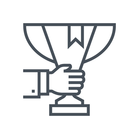 advantages: Trophy, cup icon suitable for info graphics, websites and print media and  interfaces. Line vector icon.