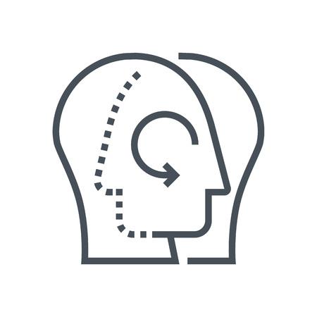 정보 그래픽, 웹 사이트 및 인쇄 매체 및 인터페이스에 적합한 지식 공유 아이콘. 라인 벡터 아이콘입니다. 인간의 얼굴, 머리, 선 벡터 아이콘입니다.