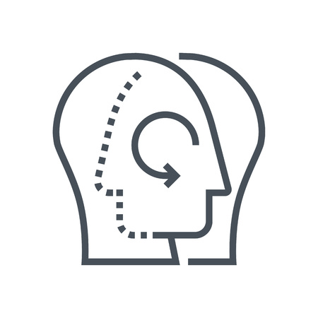 mutual: Share knowledge icon suitable for info graphics, websites and print media and  interfaces. Line vector icon. Human face, head, line vector icon.