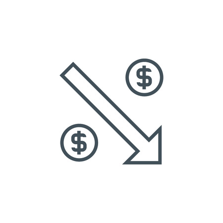 minimum wage: Decrease icon suitable for info graphics, websites and print media. Vector icon.