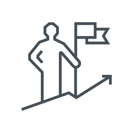opportunity sign: Get on top, climb a mountain icon suitable for info graphics, websites and print media and  interfaces. Line vector icon.