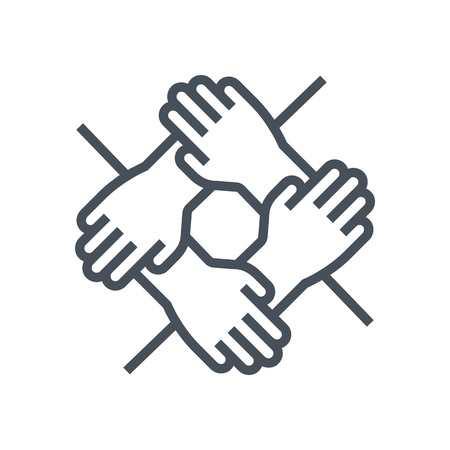 Team work icon suitable for info graphics, websites and print media and  interfaces. Line vector icon. Иллюстрация