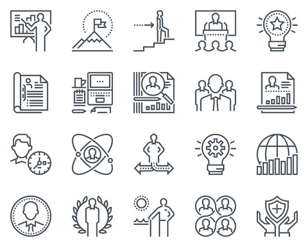 global retirement: Business icon set suitable for info graphics, websites and print media. Black and white flat line icons.