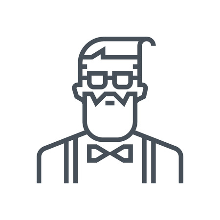 Hipster avatar icon suitable for info graphics, websites and print media and  interfaces. Line vector icon.