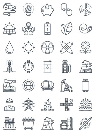 natural gas production: Green energy and industry icon set suitable for info graphics, websites and print media. Black and white flat line icons.