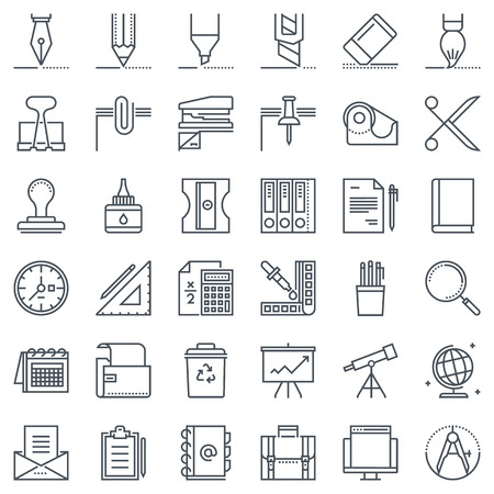 color swatch book: Thirty six office tools icon set suitable for info graphics, websites and print media and interfaces. Line vector icon set. Illustration