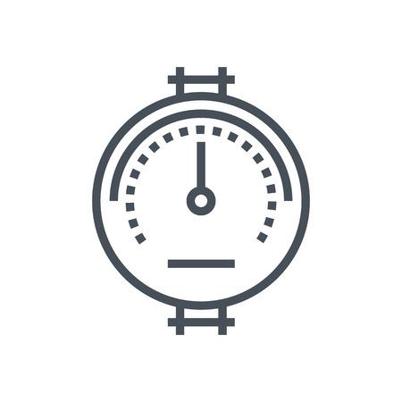 icono del medidor de presión adecuada para información de gráficos, páginas web y medios impresos e interfaces. Línea de iconos de vectores.