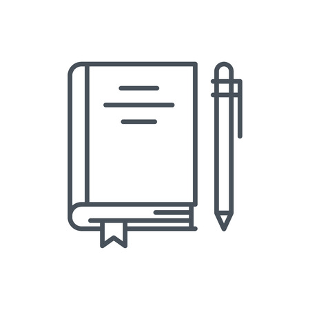 Book and pen icon suitable for info graphics, websites and print media and  interfaces. Line vector icon. Illustration