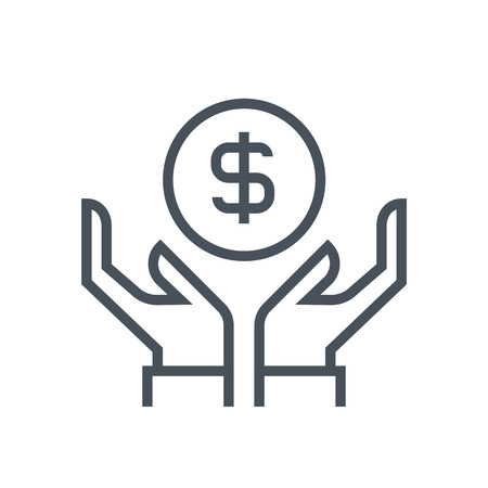 salary: Wealth, salary icon suitable for info graphics, websites and print media and  interfaces. Line vector icon.