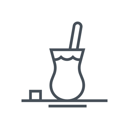 sugar cube: Tea icon suitable for info graphics, websites and print media and  interfaces. Line vector icon.