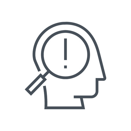 Spot a problem icon suitable for info graphics, websites and print media and  interfaces. Line vector icon. Human face, head, line vector icon.