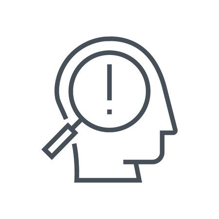 정보 그래픽, 웹 사이트 및 인쇄 매체 및 인터페이스에 적합한 문제 아이콘을 찾습니다. 라인 벡터 아이콘입니다. 인간의 얼굴, 머리, 선 벡터 아이콘입니다. 스톡 콘텐츠 - 55943546