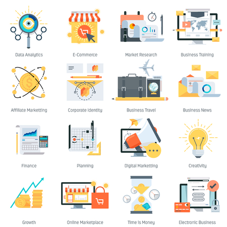 Business and finance theme, flat style, colorful, vector icon set for info graphics, websites, mobile and print media.