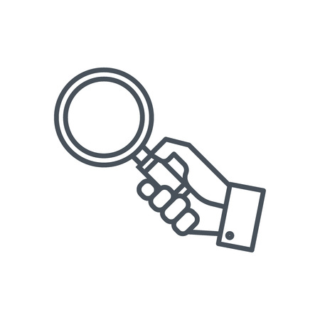 Hand holding magnifying glass icon suitable for info graphics, websites and print media and  interfaces. Line vector icon. Illustration