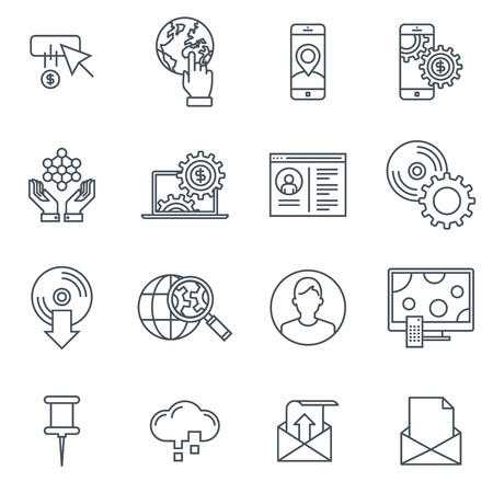 led: Technology icon set suitable for info graphics, websites and print media. Black and white flat line icons.