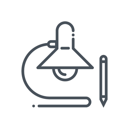 Desk light, office space icon suitable for info graphics, websites and print media and  interfaces. Hand drawn style, line vector icon.