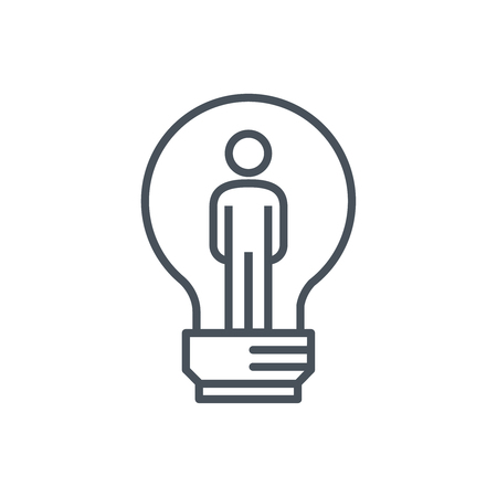 business opportunity: Man inside the lamp icon suitable for info graphics, websites and print media. Colorful vector, flat icon, clip art. Illustration