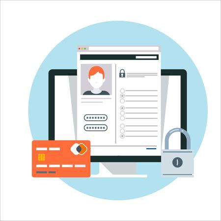 Security, account theme, flat style, colorful, vector icon for info graphics, websites, mobile and print media. Vektoros illusztráció