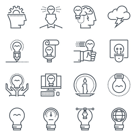 copy writing: Ideas and lamps icon set suitable for info graphics, websites and print media. Black and white flat line icons.