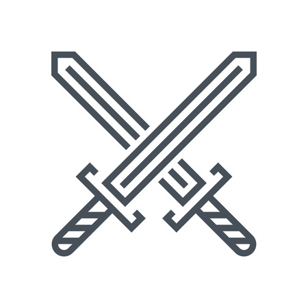 情報グラフィック、web サイトや印刷媒体とインタ フェースに適した剣のアイコンを横断します。行ベクトルのアイコン。  イラスト・ベクター素材