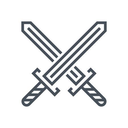 mosquetero: espadas cruzan icono adecuado para la informaci�n de gr�ficos, p�ginas web y medios impresos e interfaces. L�nea de iconos de vectores. Vectores