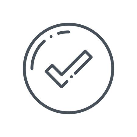 confirmacion: icono de confirmación adecuado para información de gráficos, páginas web y medios impresos e interfaces. estilo dibujado a mano, línea, icono del vector.