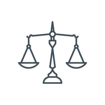 Law, balance icon suitable for info graphics, websites and print media and  interfaces. Line vector icon. Иллюстрация