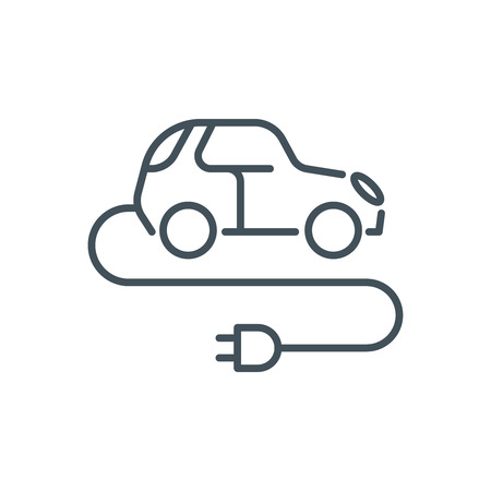 zero emission: Electric, green energy car icon suitable for info graphics, websites and print media and  interfaces. Line vector icon. Illustration