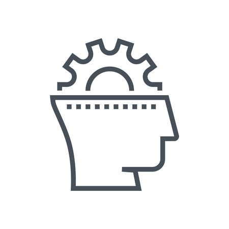 gear head: Gear, head, brain storming icon suitable for info graphics, websites and print media and  interfaces. Line vector icon. Illustration