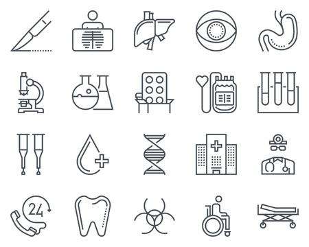 crouch: Hospital icon set suitable for info graphics, websites and print media. Black and white flat line icons.
