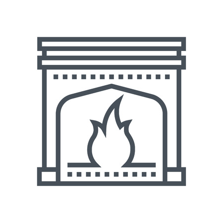 Fireplace icon suitable for info graphics, websites and print media and  interfaces. Line vector icon. Stock Illustratie