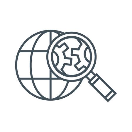 Icône d'optimisation de moteur de recherche adaptée aux graphiques d'informations, aux sites Web, aux supports d'impression et aux interfaces. Icône de vecteur de ligne.