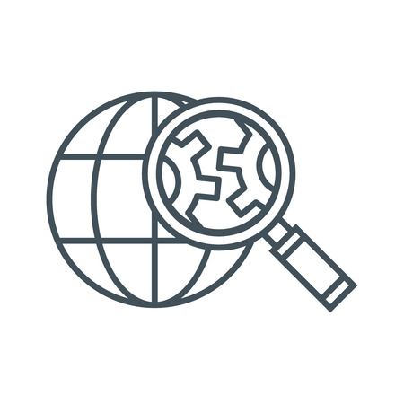 Ikona optymalizacji wyszukiwarki odpowiednia do grafiki informacyjnej, stron internetowych i nośników wydruku oraz interfejsów. Ikona wektor linii.