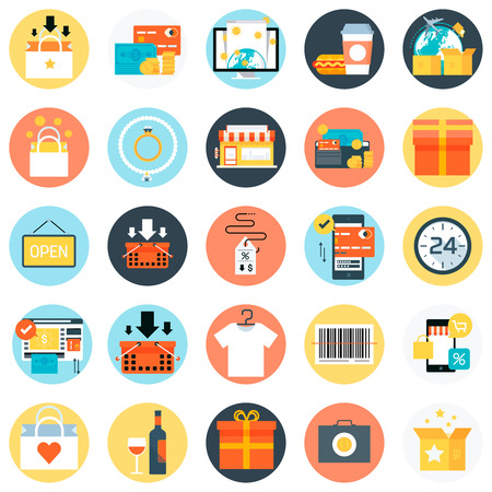 restaurant icons: Shopping theme, flat style, colorful, vector icon set for info graphics, websites, mobile and print media.