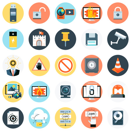 print media: Technology theme, flat style, colorful, vector icon set for info graphics, websites, mobile and print media.
