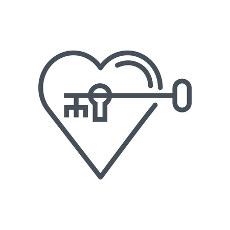 Hearth lock and key icon suitable for info graphics, websites and print media. Vector, flat icon, clip art.