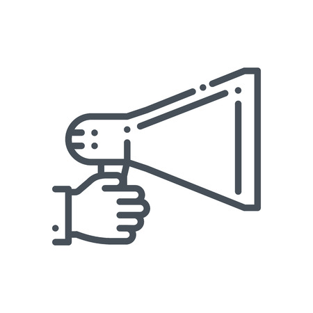 Promotion, megaphone icon suitable for info graphics, websites and print media and  interfaces. Hand drawn style, pixel perfect line vector icon. Stock Illustratie