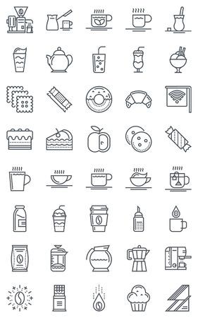 Coffee icon set geschikt voor info graphics, websites en gedrukte media. Zwart en wit vlakke lijn, vector iconen. Stock Illustratie