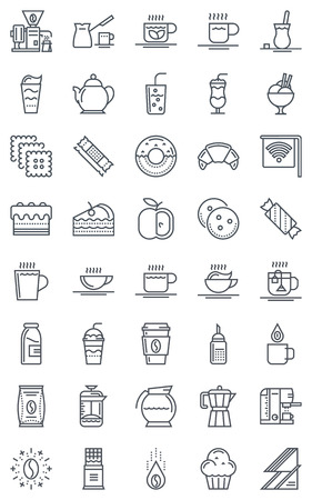 Coffee icon set suitable for info graphics, websites and print media. Black and white flat line, vector icons. 向量圖像