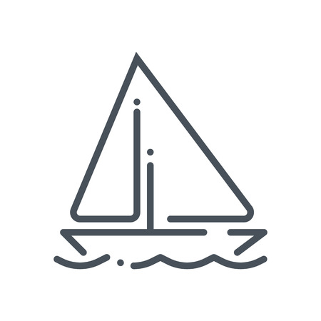 Sail, Summer holiday, retirement icon suitable for info graphics, websites and print media and  interfaces. Hand drawn style, line vector icon.