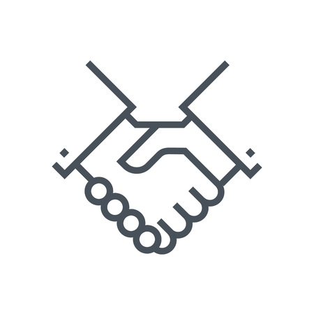 Hand shake icon, customer service icon suitable for info graphics, websites and print media and  interfaces. Line vector icon. 向量圖像