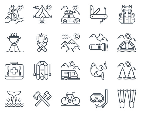 survival knife: Camping icon set suitable for info graphics, websites and print media and  interfaces. Line vector icon set. Illustration