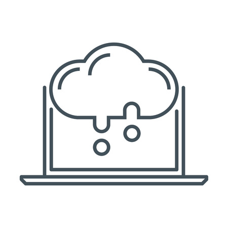print media: Cloud computing icon suitable for info graphics, websites and print media and  interfaces. Line vector icon.